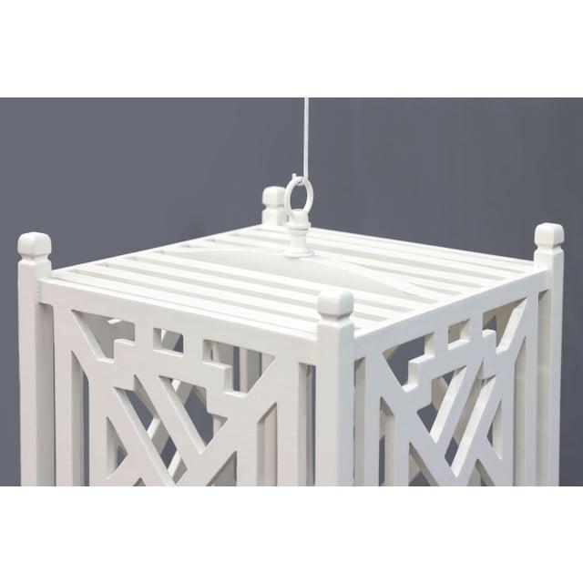 White Modern Wood Geometric Brighton White Cube Lantern For Sale - Image 8 of 9