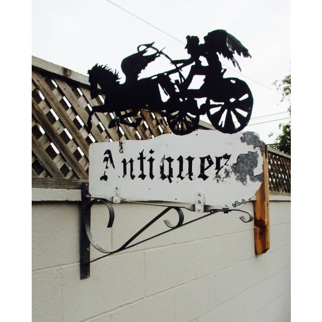 """Rusty Iron """"Antiques"""" Trade Sign Pegasus Horse - Image 5 of 11"""