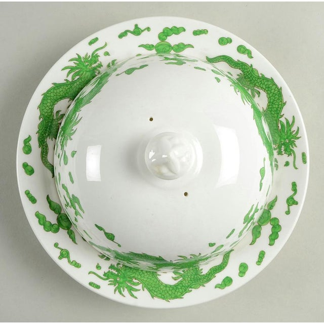 Hammersley Green Dragon Round Covered Butter Dish features rich green chinoiserie dragons on white.