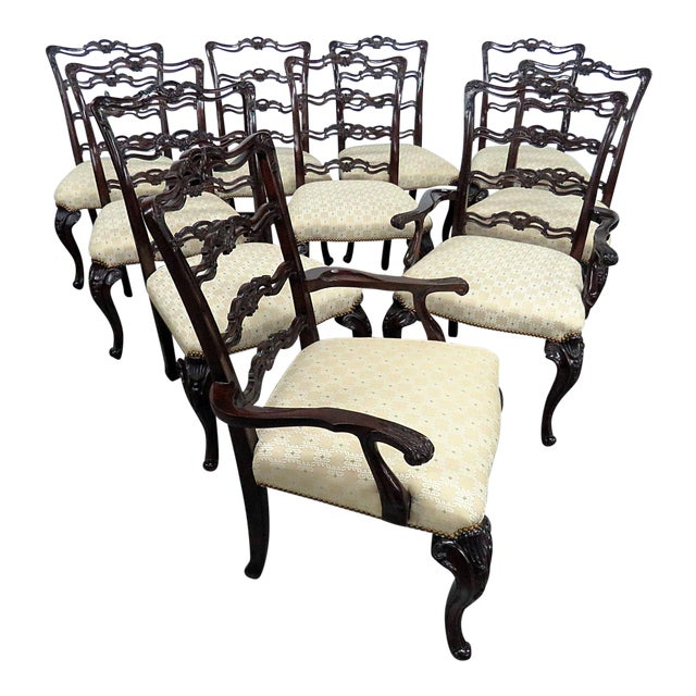 Georgian Style Ladder Back Dining Chairs - Set of 10 For Sale