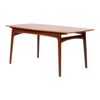 Danish Modern Teak Dining Table W/Two Extension Leaves For Sale