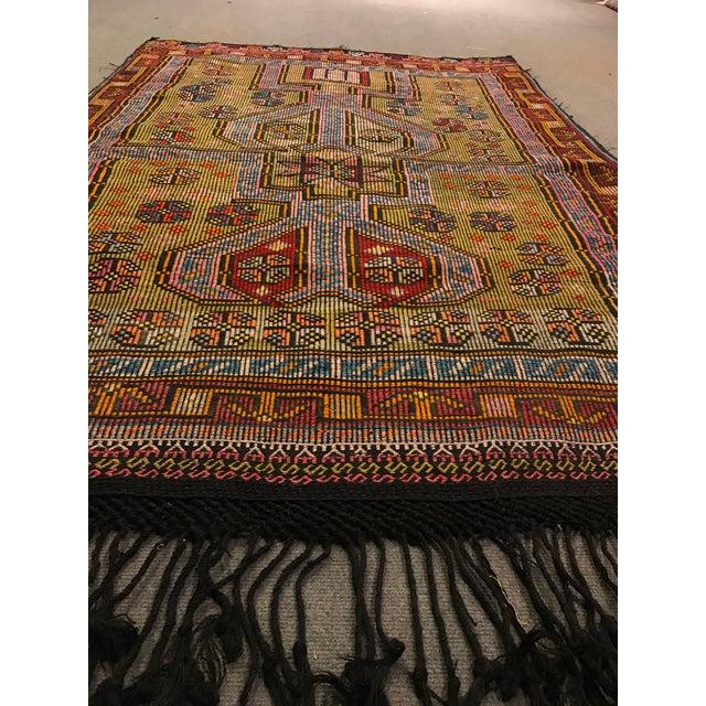 Pink 1900s TurkishVintag Colorful Tribal Wool Kilim Rug For Sale - Image 8 of 13