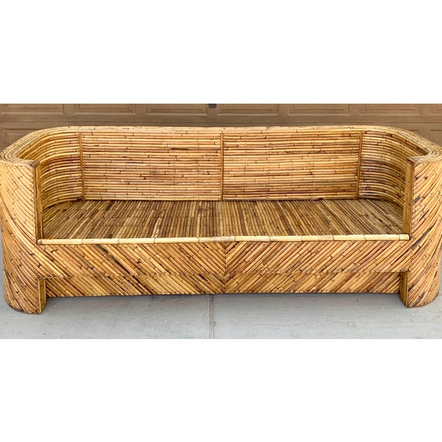 Boho Chic 1960's Stacked Bamboo Sofa in the Manor of Gabriella Crespi For Sale - Image 3 of 13
