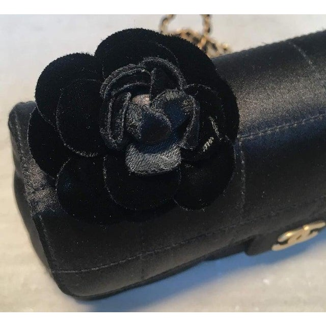 2010s Chanel Quilted Black Silk Mini Camellia Classic Flap Shoulder Bag For Sale - Image 5 of 12