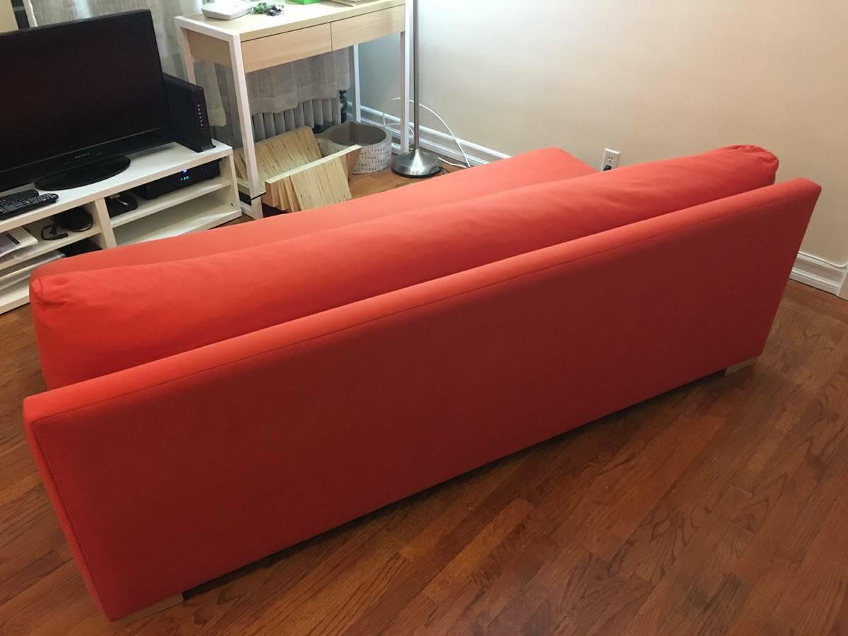 Cb2 Orange Upholstered Piazza Sofa   Image 2 Of 7