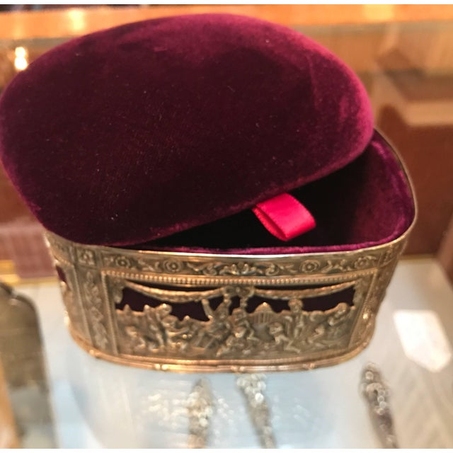 Mediterranean 19th Century Continental Silver and Velvet Trinket Box For Sale - Image 3 of 11