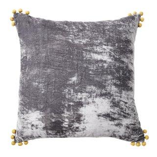 Pewter Silk Velvet Pillow With Pom Pom Accents