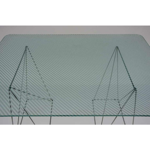 Glass Minimalist Steel and Glass Trestle Table For Sale - Image 7 of 8