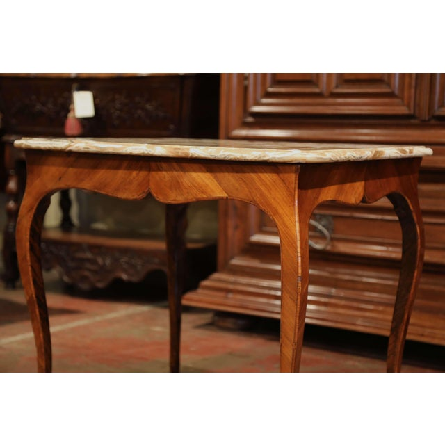 18th Century French Louis XV Mahogany Occasional Table With Marble Top For Sale In Dallas - Image 6 of 9