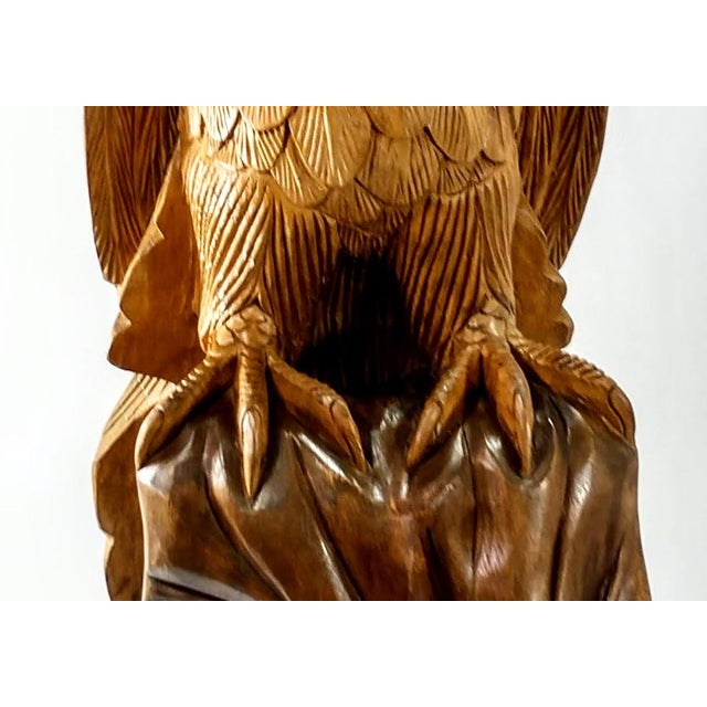 Superb Vintage Life Size 34 in Tall Golden Eagle Statue Hand Carved From One Piece of Wood For Sale - Image 11 of 13