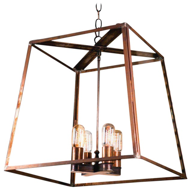 """Large Custom """"Butler"""" Hand-Made, American Brass and Glass Lantern For Sale"""