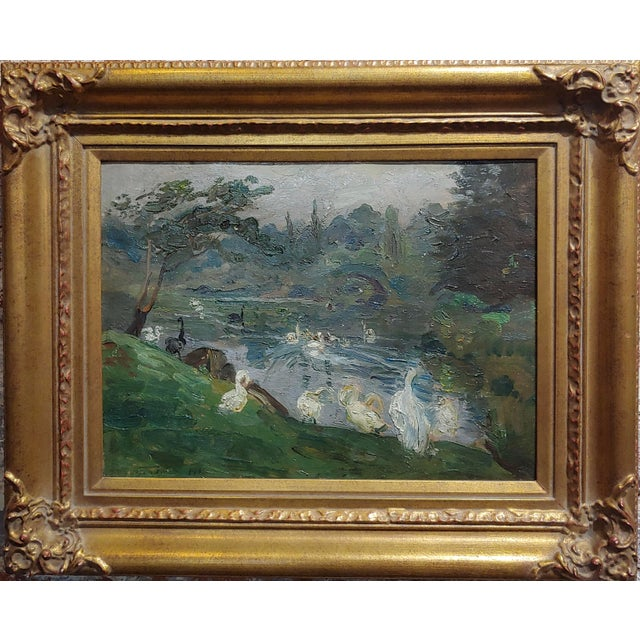 "Antonio Barone ""Duck Pond"" signed impressionist oil painting on board c. 1910. Frame size 18 x 22"" Board size 11"" x 16""..."
