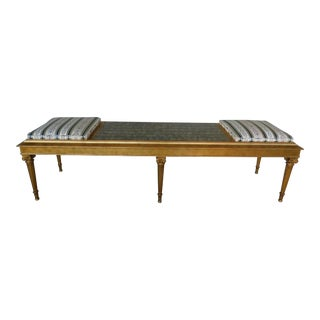 "Quality Louis XVI Style Gilt Frame Settee Window Bench 72""w For Sale"