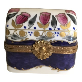 French Limoges Hand-Painted Trinket Jewelry Box For Sale