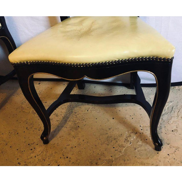 Black Set of Eight Queen Anne Ebonized and Gilt Decorated Dining Chairs For Sale - Image 8 of 13