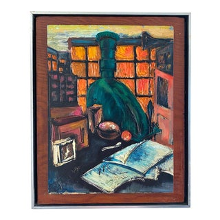 Mid 20th Century Interior Scene Woodcut Painting, Framed For Sale
