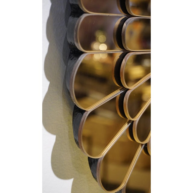 Contemporary Italian Scalloped Double Frame Silvered Bronze Murano Glass Mirror For Sale In New York - Image 6 of 11