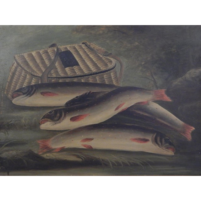 Great example of a Nineteenth Century Trout and Creel painting in a good wood frame.