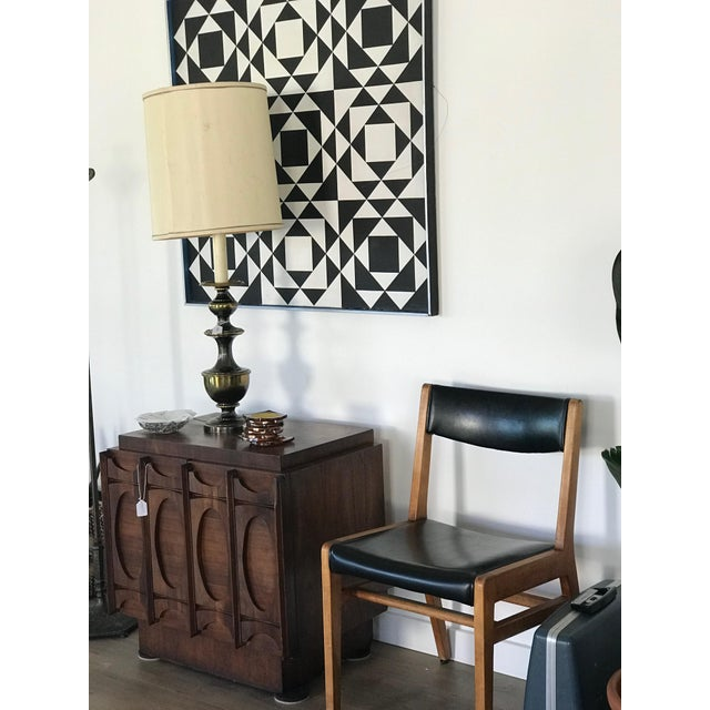Gunlocke Gun Locke Chair With Original Black Leather Upholstery For Sale - Image 4 of 12