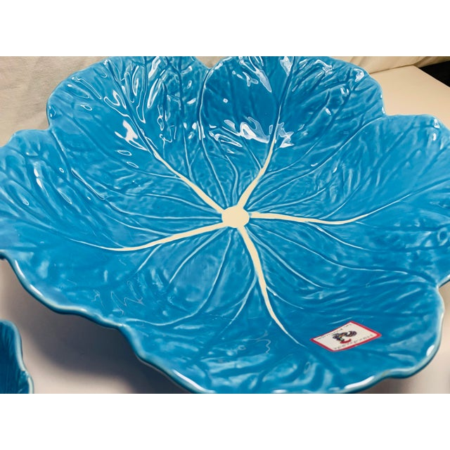 Ceramic Turquoise Blue Pottery Cabbage Nesting Bowls Handmade in Portugal - Set of 4 For Sale - Image 7 of 13