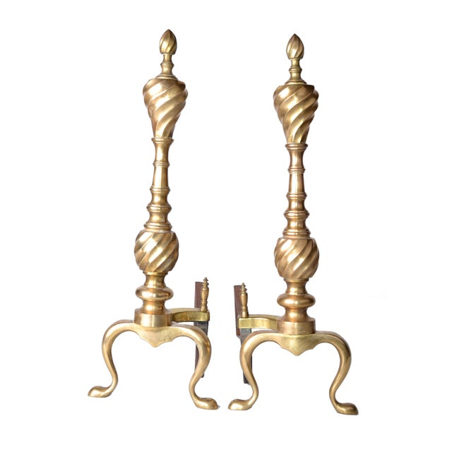 Pair of Solid Brass Andirons For Sale - Image 10 of 10