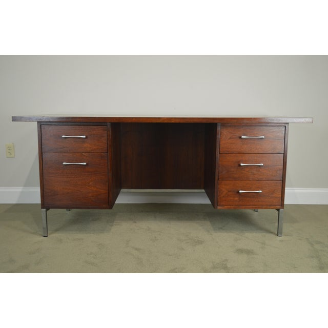 Mid-Century Modern Mid-Century Modern Walnut & Chrome Base Executive Desk For Sale - Image 3 of 13