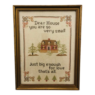 "Antique Hand Stitch in Frame ""Just Big Enough"" For Sale"