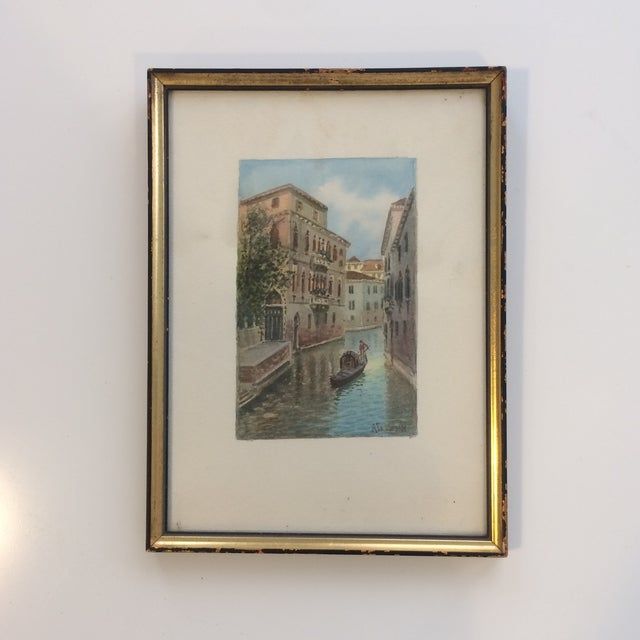 Petite vintage watercolor of canal in Venice, Italy by artist Alberto Trevisan (1919-1978). Gilt wood frame.