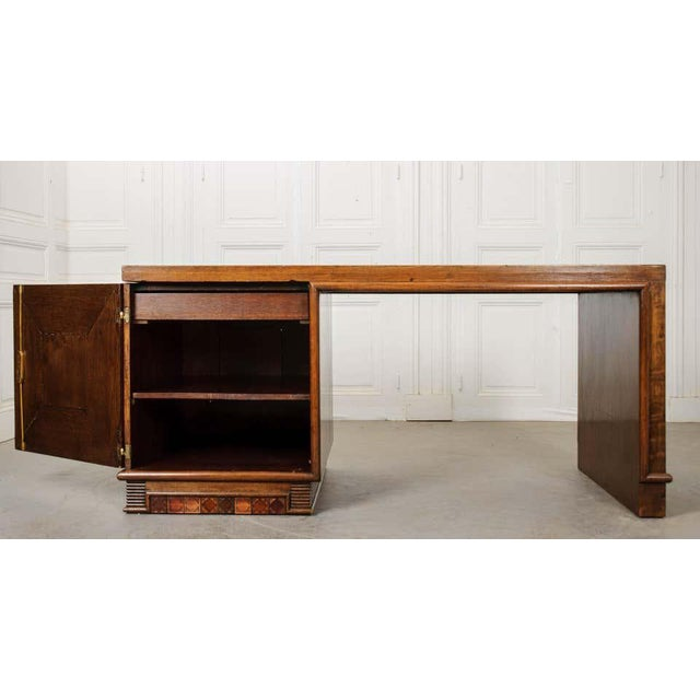 Art Deco French 20th Century Oak Art Deco Parson Desk For Sale - Image 3 of 12