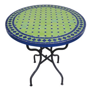 Green / Blue Moroccan Mosaic Table. For Sale