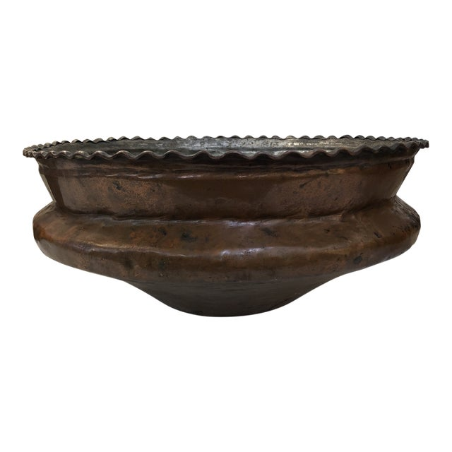 Antique Hammered Copper Plated Vessel For Sale