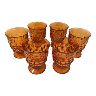 1970s Vintage Amber Fostoria Juice Glass Tumblers- Set of 6 For Sale