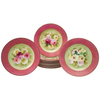 12 Pretty Pink Antique Floral Dessert Plates, Hand-Painted, Artist Signed For Sale