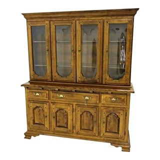 Early American Crown Glass Cherry China Cabinet Breakfront Bookcase Cupboard For Sale
