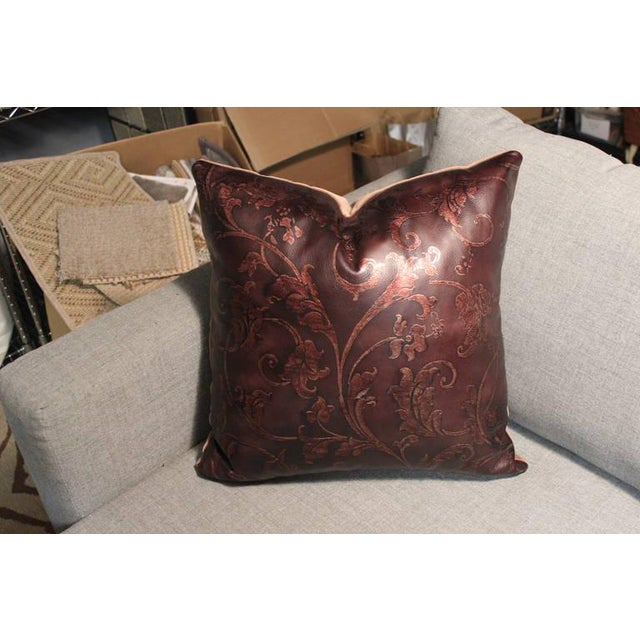 Hand Tooled Brown Leather Pillow - Image 2 of 5