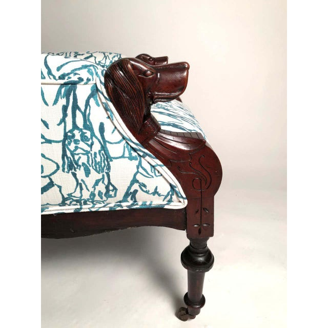 Late 19th Century Victorian Lounge Chair With Carved Dog Head Armrests For Sale - Image 4 of 13