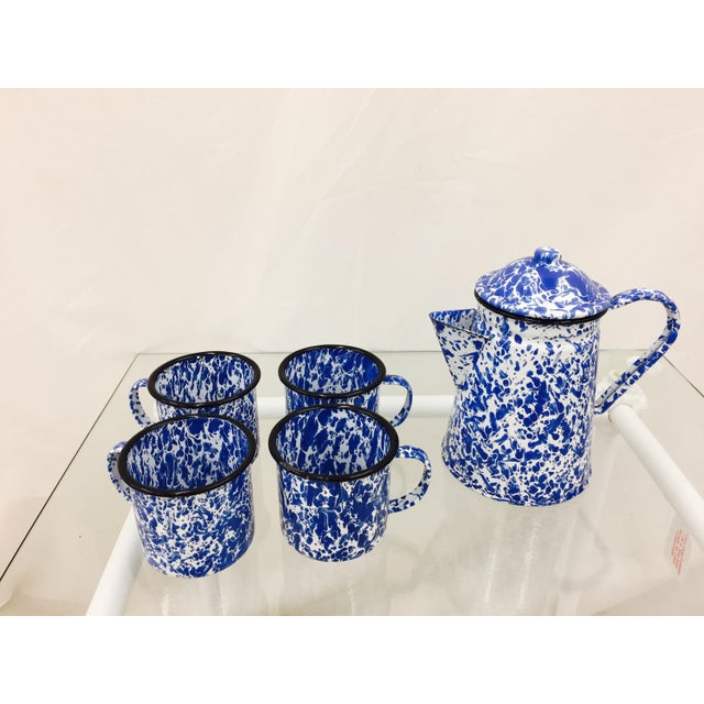 Asian Blue & White Paint Splattered Enamel 5-Piece Tea Set For Sale - Image 3 of 11