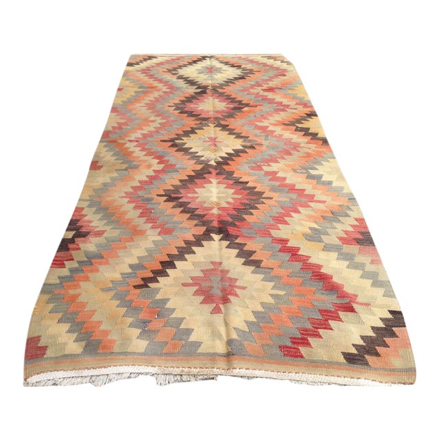 Vintage turkish anatolian kilim rug 4 3 9 chairish for 0co om cca 9 source table