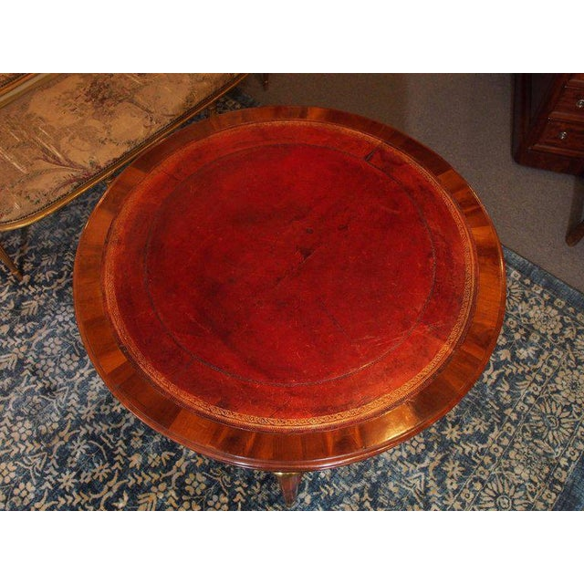 Empire Antique French Louis Philippe Mahogany Leather Top Drum Table, circa 1840 For Sale - Image 3 of 7