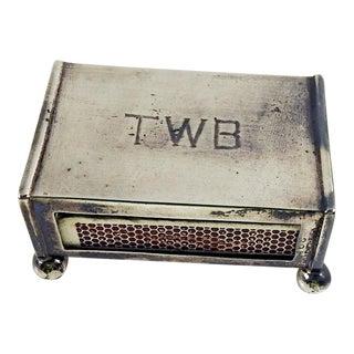 Sterling Silver Match Box Holder Monogramed For Sale