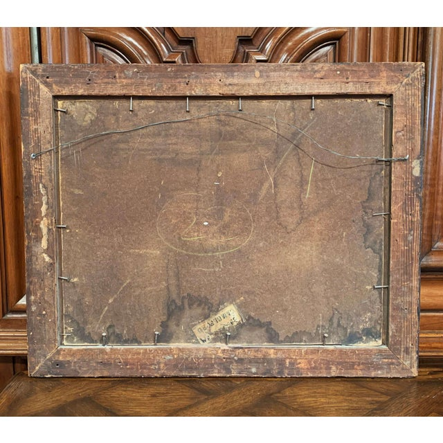 Blue 19th Century Spanish Serenade Painting on Board in Original Carved Frame For Sale - Image 8 of 9