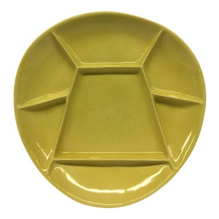 Mid-Century Modern Mustard Green Divided Plate For Sale