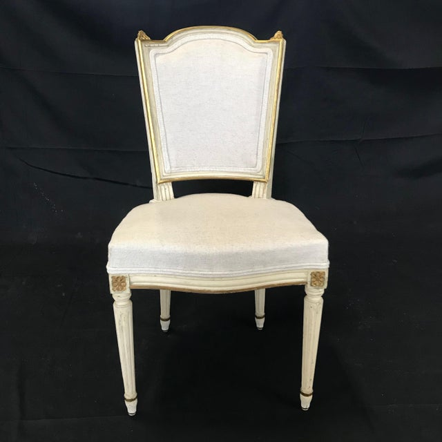 Antique Painted Louis XVI Gustavian Style Dining Chairs -Set of 6 For Sale - Image 4 of 13
