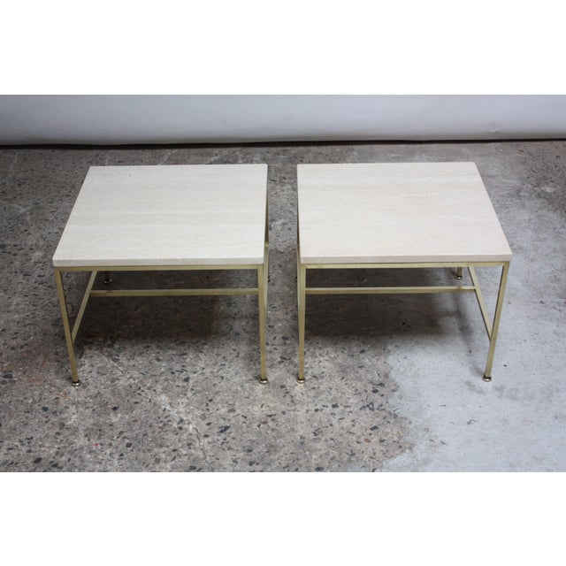 1950s Paul McCobb Travertine and Brass Occasional Tables For Sale - Image 5 of 13