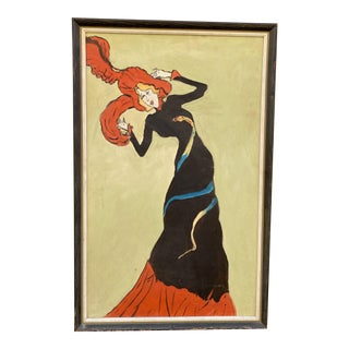 1960s Painting of Jean Avril After Toulouse Lautrec For Sale