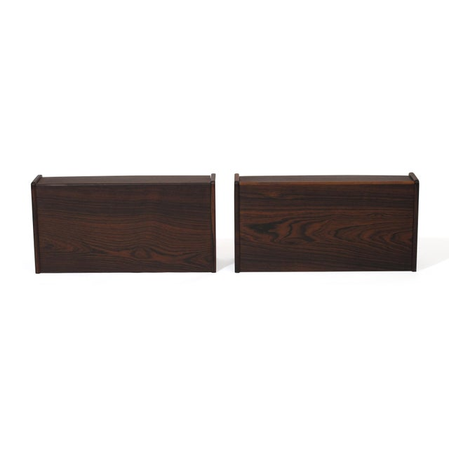 Pair of Floating Danish Rosewood Tables With Drawers For Sale In San Francisco - Image 6 of 9