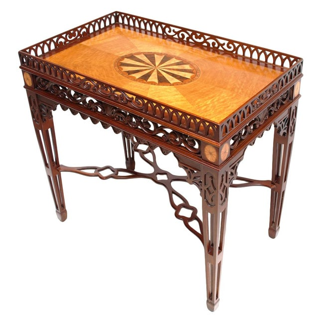 American Classical 1980s Maitland Smith Chippendale Mahogany Tea Table For Sale - Image 3 of 13