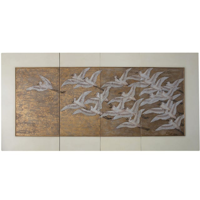 4 Panel screen Partially gold leaf cm: W 304 D 4 H 152 inch: W 119 D 1.5 H 59 Cranes in 4 panels, very decorative Art Deco...