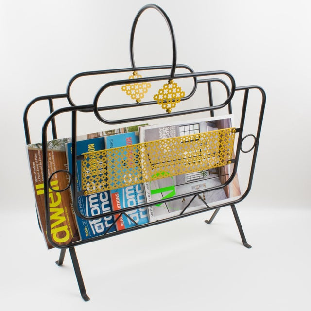 Handsome Mathieu Matégot's style modernist magazine holder or rack. A striking example of French, 1950s metalwork. Folded,...