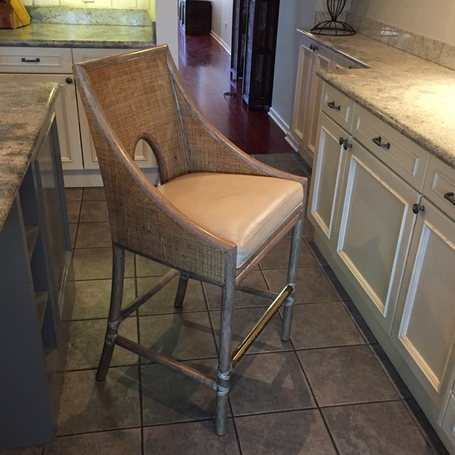 Leather Rattan Cane Counter Height Chairs - Set of 4 - Image 3 of 12